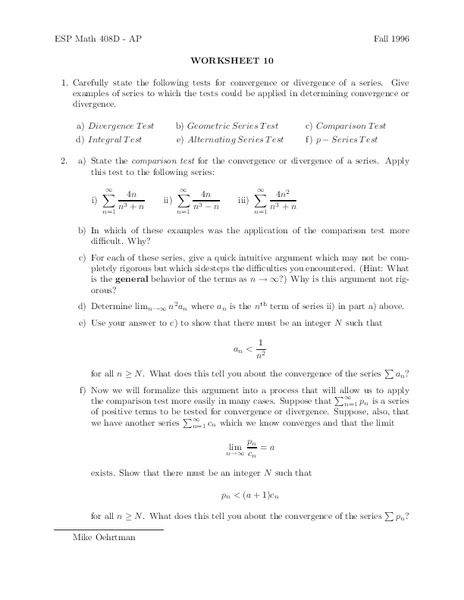 Worksheet 10 Worksheet for 11th - Higher Ed | Lesson Planet