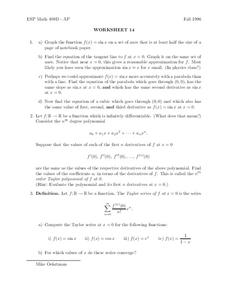 Worksheet 14 Worksheet