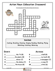 Action Noun Collocation Crossword Lesson Plan