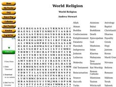 World Religion Word Search Worksheet