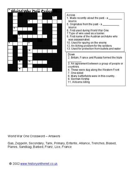 World War 1 Crossword Worksheet For 4th 7th Grade