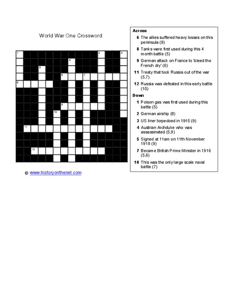 World War 1 Crossword Worksheet For 4th 8th Grade