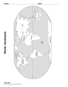 World: Continents Map Worksheet