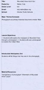 Wounded Knee Act-It-Out Lesson Plan
