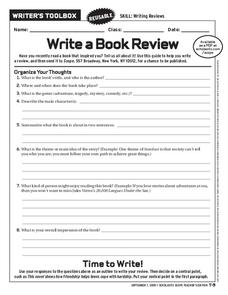Write a Book Review Worksheet
