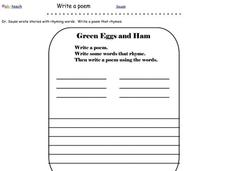 Write a Poem Worksheet