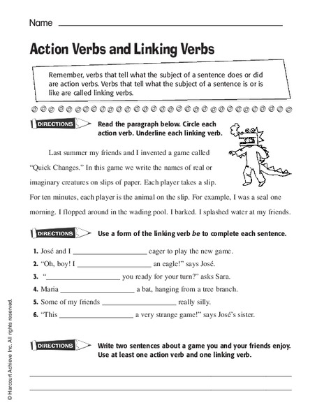 Action Verbs And Linking Verbs Worksheet For 2nd 4th Grade