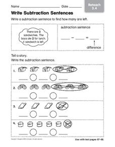 Write Subtraction Sentences Worksheet