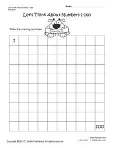Write the Missing Numbers Worksheet