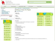 Writing a How-To Paper Lesson Plan