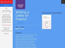 Writing a Letter of Inquiry! Lesson Plan