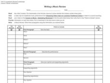 Writing a Music Review Worksheet