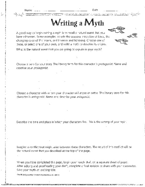 writing a myth lesson plan