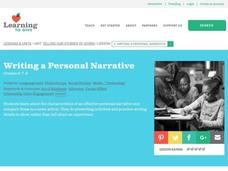 Writing a Personal Narrative Lesson Plan