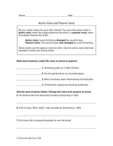 Active Voice and Passive Voice Worksheet