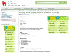 Writing a Weather Report or Weather Forecast Lesson Plan