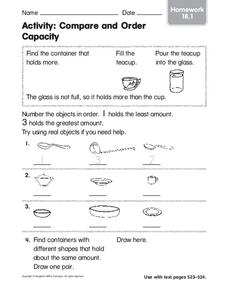 Activity: Compare and Order Capacity Worksheet
