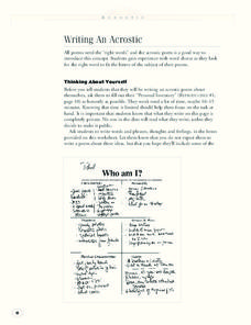 Writing An Acrostic Lesson Plan