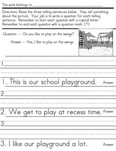 Writing Conventions: Questions Worksheet