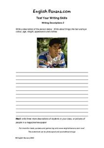 Writing Descriptions Worksheet
