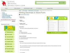 Writing Decimals in Word Form Lesson Plan