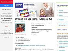 Writing From Experience (Grades 7-12) Lesson Plan
