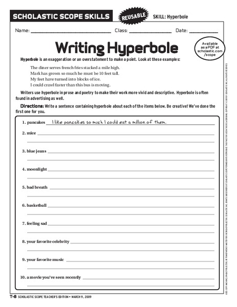 writing hyperbole worksheet for 6th 10th grade lesson planet. Black Bedroom Furniture Sets. Home Design Ideas