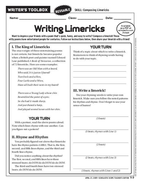 Writing a Limerick Worksheet Teaching Resource – Teach Starter