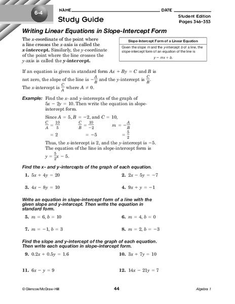 Writing Linear Equations in Slope-Intercept Form Worksheet ...