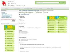 Writing Numbers - Different Forms Lesson Plan