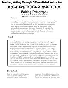 Writing Paragraphs Lesson Plan
