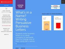 Writing Persuasive Letters Lesson Plan