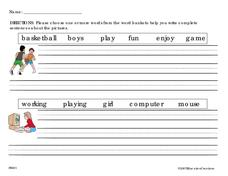 Writing Sentences Worksheet