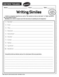 Writing Similes Worksheet