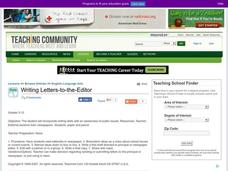 Writing Letters-to-the-Editor Lesson Plan