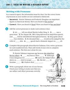 Writing with Pronouns Worksheet