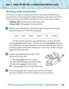 Writing with Vivid Verbs Worksheet