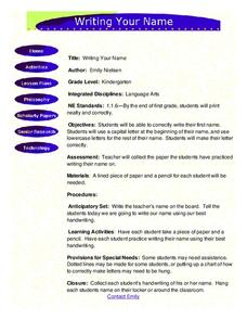 Writing Your Name Lesson Plan