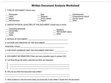 Written Document Analysis Worksheet Worksheet
