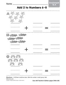 Add 2 to Numbers 6-8 Worksheet