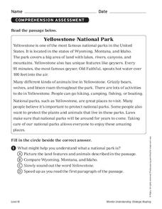 Yellowstone National Park Worksheet for 2nd Grade | Lesson Planet