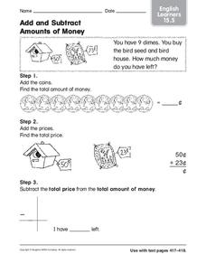 Add and Subtract Amounts of Money Worksheet