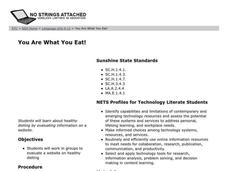 You Are What You Eat! Lesson Plan
