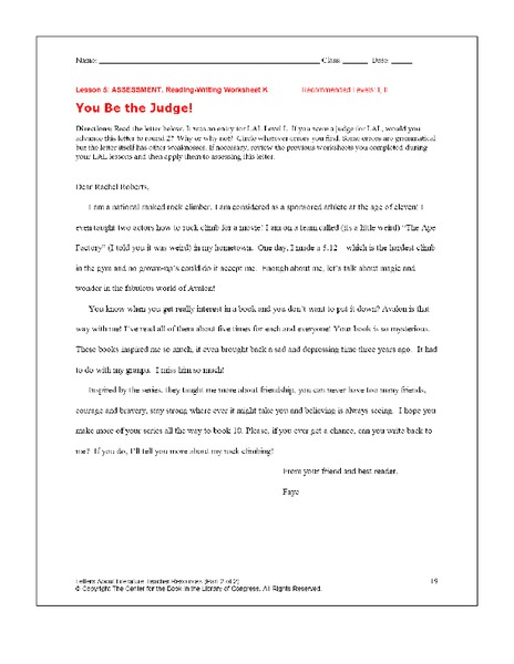 You Be the Judge Worksheet for 10th   12th Grade   Lesson ...
