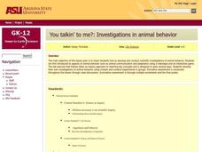 You Talkin' To Me?: Investigations in Animal Behavior Lesson Plan