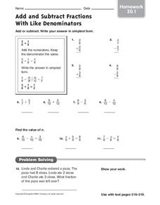 Add and Subtract Fractions with Like Denominators Worksheet