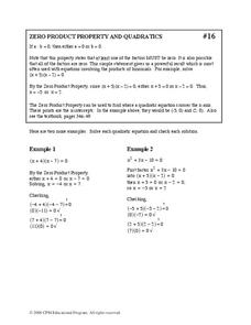 Zero Product Property and Quadratics Worksheet