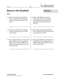 Zeros in the Quotient Worksheet