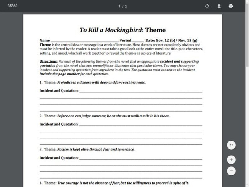 To Kill a Mockingbird: Theme  Worksheet