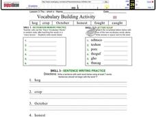 Vocabulary Building: Short o Worksheet